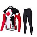 povoljno Biciklističke majice-WEIMOSTAR Kanada Državne zastave Muškarci Dugih rukava Biciklistička majica s tajicama - Red and White Bicikl Sportska odijela UV otporan Prozračnost Ovlaživanje Sportski Poliester Elastan Terilen