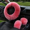 abordables Couvre Siège de Voiture-couverture de volant de voiture d'hiver longue couverture de volant en cuir chauffée en laine