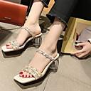 hesapli Göz Farları-Kadın's Sandaletler Kalın Topuk Yuvarlak Uçlu Kanvas Yaz Siyah / Beyaz / Mavi