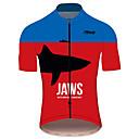 hesapli Bisiklet Formaları-21Grams JAWS Film Erkek Kısa Kollu Bisiklet Forması - Kırmızı+Mavi Bisiklet Forma Üstler Nefes Alabilir Hızlı Kuruma Yansıtıcı çizgili Spor Dalları %100 Polyester Dağ Bisikletçiliği Yol Bisikletçiliği