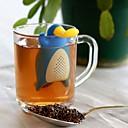 זול קפה ותה-לשימוש חוזר ברווז צורת פלטיפוס מסננת תה סיליקון מסננת עלים רופפים שתייה מכלי תה שקיות תה ריקות כלי מטבח