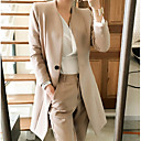 זול תיקי טיולים-בגדי ריקוד נשים יומי רגיל ג'קט, אחיד ללא צווארון שרוול ארוך פוליאסטר שחור / חאקי