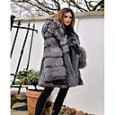 povoljno Stole za vjenčanje-Žene Party / Dnevno Osnovni Zima Normalne dužine Faux Fur Coat, Jednobojni S kapuljačom Dugih rukava Umjetno krzno Sive boje
