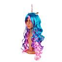 povoljno Stare svjetske nošnje-Cosplay Unicorn Poni Cosplay Wigs Žene 24 inch Sintetička vlakna Višebojne Obala purpurna boja Ink Blue Anime