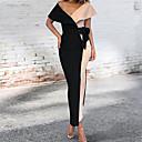 povoljno Ženske haljine-Žene Osnovni Korice Haljina Color block V izrez Maxi
