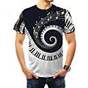 halpa Kuntoilu-, juoksu- ja joogavaatetus-Miesten Pyöreä kaula-aukko Painettu Color Block Perus Pluskoko - T-paita Musta / Lyhythihainen