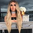 זול פיאות תחרה סינטטיות-פאות סינתטיות Body Wave סגנון חלק אמצעי הוכן באמצעות מכונה פאה מוזהב בלונדינית שיער סינטטי 26 אִינְטשׁ בגדי ריקוד נשים נשים מוזהב פאה ארוך