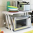 זול צנצנות ותיבות-מדף מיקרוגל, מארגן מדף דלפק למטבח, מארגן מדף מדף מתובל, טוסטר מיקרוגל, 2 שכבות עם ווים