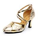 זול נעלי ריקודים ונעלי ריקוד מודרניות-בגדי ריקוד נשים נעלי ריקוד עור נעליים מודרניות עקבים עקב קובני מותאם אישית זהב / כסף