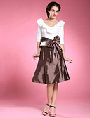 preiswerte Abendkleider-A-Linie V-Ausschnitt Knie-Länge Taft Brautmutterkleid mit Schleife(n) Schärpe / Band durch LAN TING BRIDE®