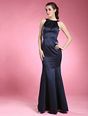 olcso Örömanya ruhák-Sellő fazon Ékszer Földig érő Szatén Örömanya ruha val vel Rakott által LAN TING BRIDE®