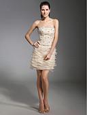 preiswerte Abendkleider-Eng anliegend Trägerlos Kurz / Mini Spitze / Organza Cocktailparty Kleid mit Perlenstickerei / Spitze durch TS Couture®