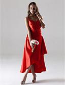 Χαμηλού Κόστους Φορέματα Παρανύμφων-Γραμμή Α Λεπτές Τιράντες Κάτω από το γόνατο / Ασύμμετρο Ελαστικό Σατέν Φόρεμα Παρανύμφων με Πλαϊνό ντραπέ με LAN TING BRIDE® / Ανοικτή Πλάτη