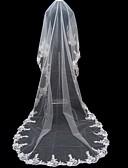 tanie Welony ślubne-Monistyczny Koronka Edge'a aplikacja Welony ślubne Welony Cathedral Z Haft nakładany 196,85 cali (500cm) Tiul -Line, Ball Gown, księżniczka, płaszcza / Kolumna, Trąbka / Mermaid / Rzuć Veil