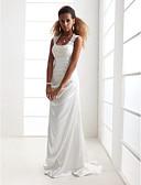 preiswerte Hochzeitskleider-Eng anliegend U-Ausschnitt Pinsel Schleppe Charmeuse / Perlen-Spitze Maßgeschneiderte Brautkleider mit Applikationen durch LAN TING BRIDE®