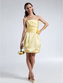 cheap Bridesmaid Dresses-Sheath / Column Strapless Short / Mini Satin Bridesmaid Dress with Draping / Ruched / Flower by LAN TING BRIDE®