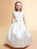 Χαμηλού Κόστους Λουλουδάτα φορέματα για κορίτσια-Γραμμή Α / Πριγκίπισσα Μακρύ Φόρεμα για Κοριτσάκι Λουλουδιών - Δαντέλα / Σατέν Αμάνικο Scoop Neck με Φιόγκος(οι) / Δαντέλα / Ζώνη / Κορδέλα με LAN TING BRIDE® / Άνοιξη / Καλοκαίρι / Φθινόπωρο