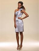 Χαμηλού Κόστους Φορέματα ειδικών περιστάσεων-Ίσια Γραμμή Ένας Ώμος Μέχρι το γόνατο Σατέν Ανοικτή Πλάτη Κοκτέιλ Πάρτι Φόρεμα με Πλαϊνό ντραπέ / Βολάν / Λουλούδι με TS Couture®