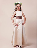 cheap Cocktail Dresses-A-Line / Princess Bateau Neck Floor Length Satin Junior Bridesmaid Dress with Sash / Ribbon / Ruched by LAN TING BRIDE® / Spring / Summer / Fall / Winter / Apple