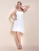 Χαμηλού Κόστους Φορέματα Χορού Αποφοίτησης-Γραμμή Α Στράπλες Μέχρι το γόνατο Σιφόν Κοκτέιλ Πάρτι Φόρεμα με Χάντρες / Πλαϊνό ντραπέ με TS Couture®