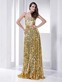 baratos Vestidos de Noite-Tubinho Sem Alças Longo Paetês Brilho & Glitter / Estilo Celebridade Coquetel / Evento Formal Vestido com Lantejoulas / Pregueado de TS Couture®
