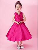 Χαμηλού Κόστους Φορέματα δεξίωσης γάμου-Γραμμή Α / Πριγκίπισσα Κάτω από το γόνατο Φόρεμα για Κοριτσάκι Λουλουδιών - Ταφτάς Αμάνικο Λαιμόκοψη V με Φιόγκος(οι) / Που καλύπτει / Πλαϊνό ντραπέ με LAN TING BRIDE® / Άνοιξη / Καλοκαίρι