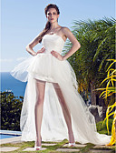 cheap Wedding Dresses-Princess Strapless Asymmetrical Tulle Made-To-Measure Wedding Dresses with Appliques by LAN TING BRIDE® / Little White Dress