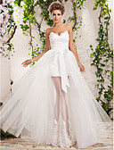 cheap Wedding Dresses-A-Line / Princess Sweetheart Neckline Floor Length Tulle Made-To-Measure Wedding Dresses with Appliques by LAN TING BRIDE®