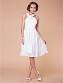 billige Korte brudepikekjoler-A-linje stropper Knelang Chiffon Kjole til brudens mor med Drapering / Kryssdrapering / Blomst av LAN TING BRIDE®