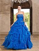 Χαμηλού Κόστους Βραδινά Φορέματα-Βραδινή τουαλέτα Στράπλες Μακρύ Οργάντζα Εμπνευσμένο από Βίντατζ Επίσημο Βραδινό Φόρεμα με Χάντρες / Με διαδοχικές σούρες με TS Couture®