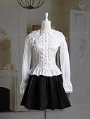 hesapli Gelin Şalları-Tek-parça/Elbiseler Klasik/Geleneksel Lolita Lolita Cosplay Lolita Elbiseler Beyaz / Siyah Solid Uzun Kol Kısa Uzunluk Bluz / Etek Için