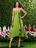 Χαμηλού Κόστους Φορέματα Παρανύμφων-Ίσια Γραμμή Στράπλες / Καρδιά Κάτω από το γόνατο / Ασύμμετρο Σιφόν Φόρεμα Παρανύμφων με Πιασίματα με LAN TING BRIDE® / Ανοικτή Πλάτη
