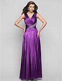 Χαμηλού Κόστους Βραδινά Φορέματα-Γραμμή Α Λαιμόκοψη V Μακρύ Σαρμέζ Χοροεσπερίδα / Επίσημο Βραδινό Φόρεμα με Χάντρες / Κρυστάλλινη λεπτομέρεια / Που καλύπτει με TS Couture®