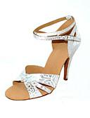 hesapli Balo Dansı Giysileri-Kadın's Latin Dans Ayakkabıları / Balo Yapay Deri Sandaletler / Topuklular Toka Kişiselleştirilmiş Dans Ayakkabıları Gümüş / Gümüş