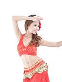 hesapli Göbek Dansı Giysileri-Göbek Dansı Üstler Kadın's Eğitim Pamuklu Kristaller / Yapay Elmaslar Kolsuz Top