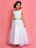 Χαμηλού Κόστους Λουλουδάτα φορέματα για κορίτσια-Γραμμή Α / Πριγκίπισσα Μέχρι τον αστράγαλο Φόρεμα για Κοριτσάκι Λουλουδιών - Σατέν / Τούλι Αμάνικο Με Κόσμημα με Πούλιες / Δαντέλα / Λεπτομέρεια με πέρλα με LAN TING BRIDE®