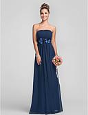 preiswerte Brautjungfern Kleider-Eng anliegend Trägerlos Boden-Länge Chiffon Brautjungfernkleid mit Drapiert / Blume / Plissee durch