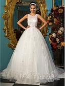 preiswerte Kleider für die Hochzeitsfeier-Ballkleid U-Ausschnitt Kirchen Schleppe Tüll Maßgeschneiderte Brautkleider mit Schleife / Perlenstickerei / Applikationen durch LAN TING BRIDE®