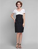 preiswerte Beliebte Styles bei Brautmutterkleidern-Eng anliegend V-Ausschnitt Knie-Länge Spitze Brautmutterkleid mit Perlenstickerei / Spitze / Rüschen durch LAN TING BRIDE®