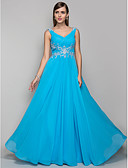 cheap Evening Dresses-A-Line V Neck Floor Length Chiffon Prom / Formal Evening Dress with Appliques / Ruched by TS Couture®