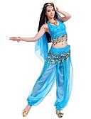 ieftine Ținută Dans din Buric-Dans din Buric Ținute Pentru femei Performanță Șifon Mărgele / Paiete / Monede Fără manșon Vârf / Pantaloni / Veșminte de cap