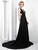 preiswerte Abendkleider-A-Linie Tiefer Ausschnitt Hof Schleppe Chiffon Schöner Rücken Formeller Abend Kleid mit Seitlich drapiert durch TS Couture®