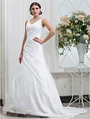 billige Bryllupskjoler-A-linje V-hals Kapellslep Taft Made-To-Measure Brudekjoler med Sidedrapering av LAN TING BRIDE®