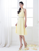 Χαμηλού Κόστους Φορέματα Παρανύμφων-Γραμμή Α / Πριγκίπισσα Ζιβάγκο Μέχρι το γόνατο Σιφόν Φόρεμα Παρανύμφων με Χάντρες / Κρυστάλλινη λεπτομέρεια / Χιαστί με LAN TING BRIDE®