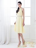 cheap Bridesmaid Dresses-A-Line / Princess High Neck Knee Length Chiffon Bridesmaid Dress with Beading / Crystals / Criss Cross by LAN TING BRIDE®