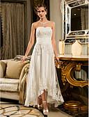 olcso Menyasszonyi ruhák-A-vonalú Pánt nélküli Aszimmetrikus Gyöngyös csipke Made-to-measure esküvői ruhák val vel Rátétek / Gomb által LAN TING BRIDE®