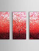 preiswerte Abendkleider-Handgemalte Blumenmuster/Botanisch Horizontal Segeltuch Hang-Ölgemälde Haus Dekoration Drei Paneele
