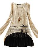 preiswerte Kleider-Damen Baumwolle A-Linie Kleid - Rüsche, Punkt Einfarbig Übers Knie Tiefe Hüfthöhe