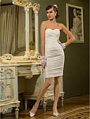 Χαμηλού Κόστους Νυφικά-Ίσια Γραμμή Καρδιά Κοντό / Μίνι Δαντέλα Φορέματα γάμου φτιαγμένα στο μέτρο με Πιασίματα / Χιαστί με LAN TING BRIDE® / Μικρά Άσπρα Φορέματα