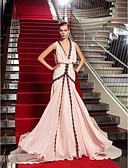 preiswerte Abendkleider-A-Linie Tiefer Ausschnitt Pinsel Schleppe Georgette Formeller Abend Kleid mit Spitzeneinsatz durch TS Couture®